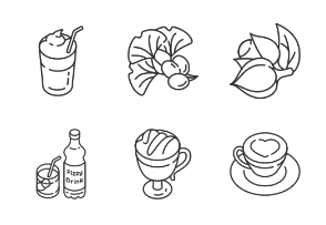 Energy drinks and caffeine. Linear. Outline