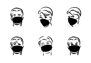 Faces with masks