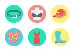 Fashion and clothes accessories icons (round)