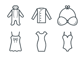 Fashion and Clothes Vector Line 5