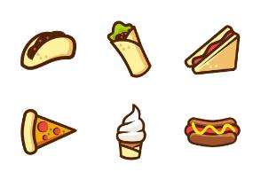 Fast Food Item Cartoon Style