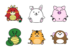 Fat cute animal chinese zodiac horoscope