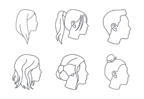 Female hairstyles outlines