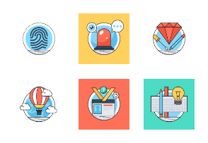 Flat Colored Line Icons 7