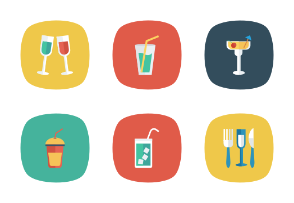 Food and Drinks Flat Square Rounded vol 4