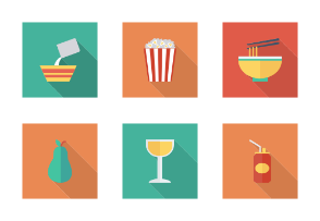 Food and Drinks Flat Square Shadow vol 4