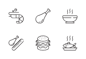 Foods With Black And White Iconset