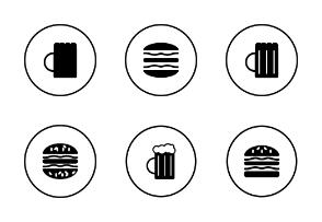 Hamburger and beer door signs