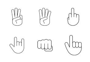Hand gestures. Linear. Outline