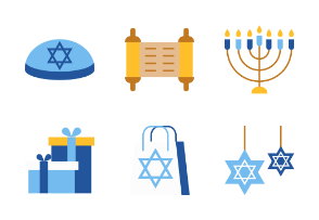 Hanukkah Jewish festival - Flat
