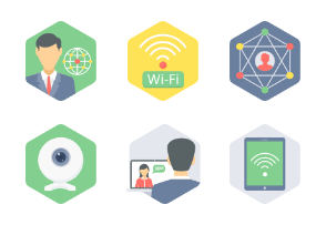 Hexagon Communication & Connectivity Flat icons Part 2