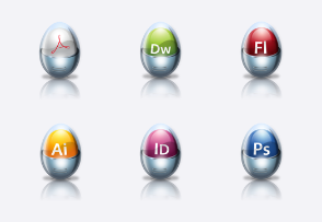 Glossy icon set for Adobe apps