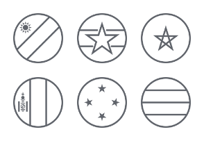 International Circle Flags - Outline