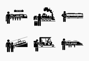 Land Public Transportation Vehicles and People