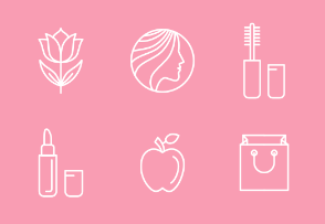Linear beauty and cosmetics icons