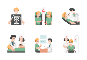 Medical Situations Flat - Happy Hospital