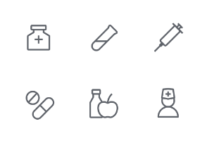 Medical outline tiny icons