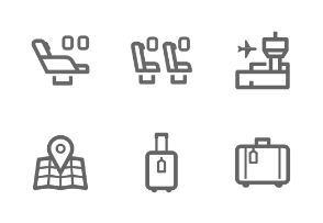Mini Airplane & Airport outline stroke