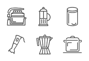 O014 Cooking and kitchen appliances outline