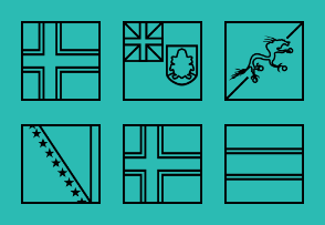 Outline square world flags