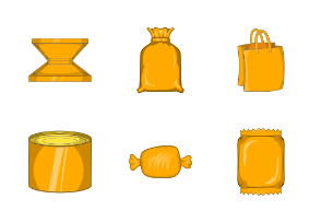 Packing icons set, cartoon style