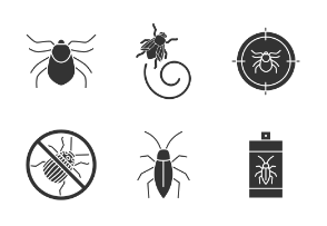 Pest control. Glyph. Silhouettes