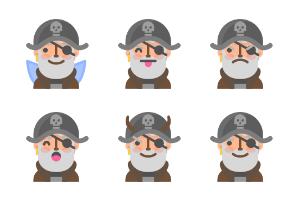 Pirate emoji faces
