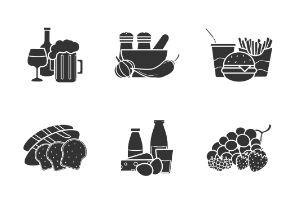 Product categories. Glyph. Silhouettes
