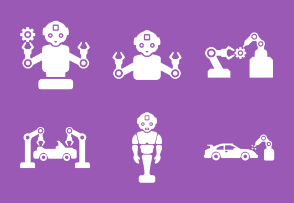Robots and mashines for automobile industry