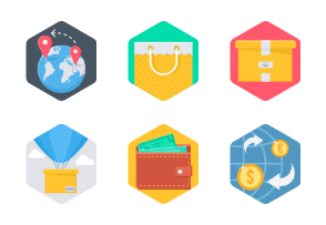 Shopping & Financial- set 1 Hexagonal