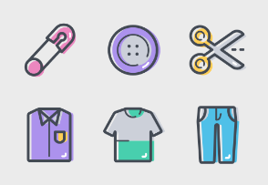 Shopping set icons colored