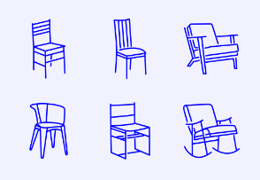 Simple Set of Chair and Sofa. Vector Line Icons.