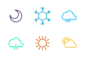 Simply weather line art