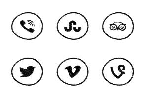 Social Icons Scribble Circle
