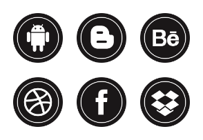 Free Round Glyph Social Media Icons