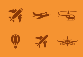 Transport 01 - Set of airplanes and other flying means icons