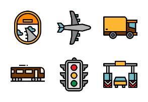 Transportation filled outline