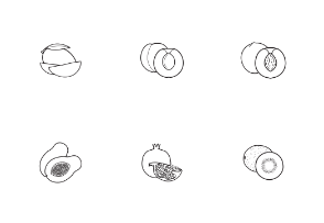 Tropical fruits. Linear. Outline