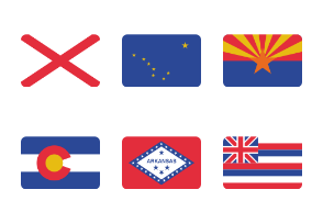 US State Flags - Rounded Rectangles