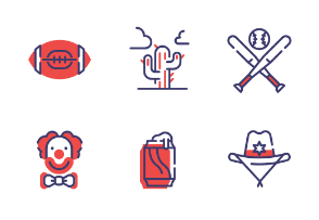 USA elements Flat Outline - Patriotic and Freedom