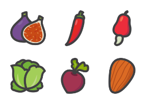 Vegetables - Thick filled outline