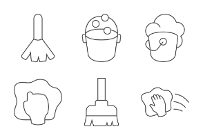 Washing & Cleaning - Thin outline
