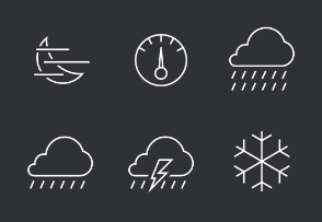 Weather stroked icon set