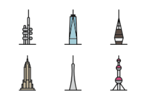 World Landmarks - Towers & Skyscrapers (color)